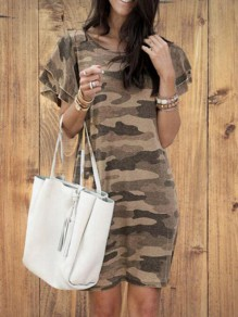 Khaki Camouflage Pattern Flutter Sleeve Plus Size Oversized Casual Mini Dress