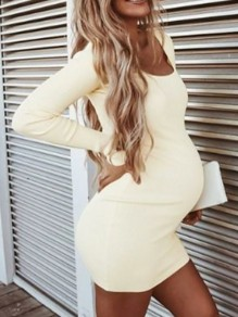 Apricot Square Neck Long Sleeve Bodycon Casual Cute Maternity Dress