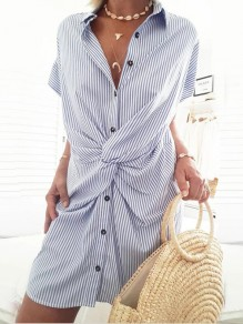 Light Blue Striped Buttons Turndown Collar Short Sleeve Fashion Mini Dress