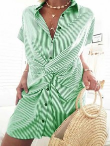 Green Striped Buttons Turndown Collar Short Sleeve Fashion Mini Dress