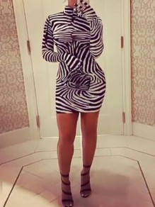 Black-White Zebra Pattern High Neck Bodycon Mini Dress With Gloves