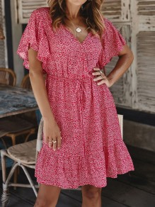 Wine Red Floral Ruffle V-neck Short Sleeve Sweet Beach Mini Dress