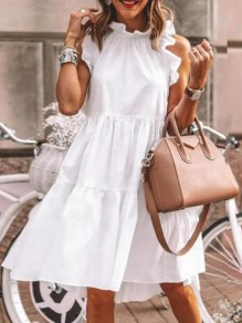 White Ruffle Round Neck Sleeveless Fashion Mini Dress