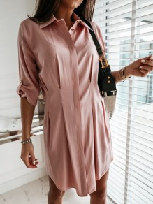 Pink Pleated Single Breasted Turndown Collar Long Sleeve Mini Dress