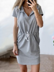 Grey Drawstring Pockets Hooded Short Sleeve Fashion Mini Dress