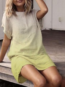 Green Gradient Round Neck Short Sleeve Cute Mini Dress