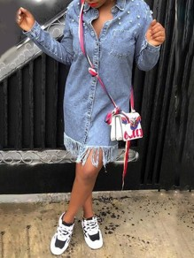 Light Blue Patchwork Pearl Tassel Pockets Turndown Collar V-neck Long Sleeve Denim Outwear Mini Dress