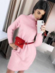 Robe courte col haut manches longues pull mode rose