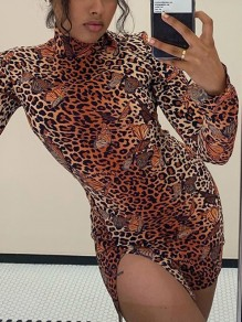 Brown Leopard Butterfly Print High Neck Long Sleeve Slit Bodycon Clubwear Mini Dress