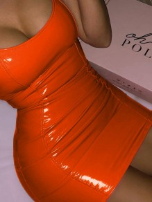 Orange U-neck Sleeveless PU Leather Vinyl Bodycon Clubwear Mini Dress