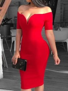 Red Boat Neck Short Sleeve Bodycon Elegant Mini Dress