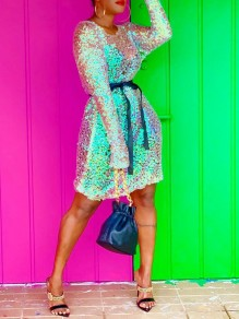 Blue Sequin Belt Round Neck Long Sleeve Sheer Glitter Sparkly Birthday Party Mini Dress