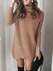 Robe courte col haut manches longues pull mode marron
