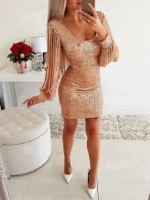 Golden Patchwork Sequin Tassel Cut Out Long Sleeve Fashion Sparkly Mini Dress