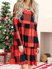 Red-Black Plaid Print Round Neck Long Sleeve Casual Christmas Mini Dress