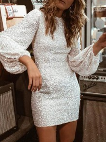 White Sequin Puff Sleeve Christmas NYE Sparkly Banquet Party Mini Dress