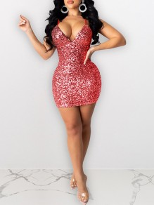 Red Sequin Shoulder-Strap V-neck Hip Bodycon Glitter Sparkly Birthday Party Mini Dress