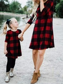 Black-Red Draped 3/4 Sleeve Flannel Buffalo Christmas Party Mini Dress