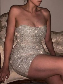 Silver Sequin Bandeau Off Shoulder Backless NYE Sparkly Banquet Party Mini Dress