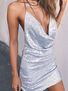 Silver Sequin Rhinestone Fringe Halter Neck Backless Glitter Sparkly Birthday Party NYE Mini Dress