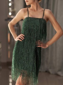 Green Shoulder-Strap Bright Wire Tassel Square Neck Glitter Sparkly Party Christmas Flapper Mini Dress