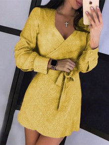Yellow Sashes Glitter Sparkly V-neck Long Sleeve Elegant Mini Dress