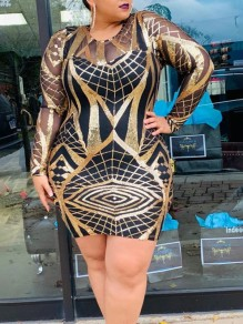 Golden Patchwork Sequin Grenadine Round Neck Long Sleeve Glitter Sparkly Birthday Party Plus Size Mini Dress