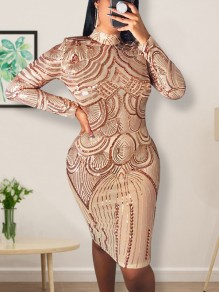 Apricot Geometric Sequin Print Band Collar Long Sleeve Hip Bodycon Glitter Sparkly Birthday Party Mini Dress