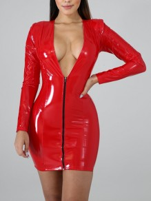 Red Zipper V-neck Long Sleeve PU Leather Vinyl Hip Bodycon Mini Dress