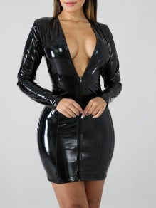 Black Zipper V-neck Long Sleeve PU Leather Vinyl Hip Bodycon Mini Dress