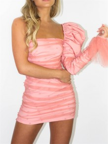 Pink Patchwork Grenadine Pearl One Puff Sleeve Hip Bodycon Mini Dress