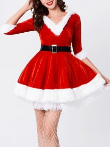 Red-White Patchwork Faux Fur V-neck Half Sleeve Skater NYE Christmas Santa Clause Party Mini Dress