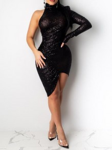Black Irregular Sequin High Neck Side Slit Sparkly NYE Banquet Party Mini Dress