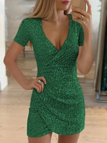 Green Glitter Sparkly V-neck Short Sleeve Bodycon Mini Dress