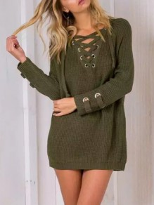 Armee-Grün-Patchwork-Riemchen-V-Ausschnitt Langarm Fashion Mini Sweater Dress