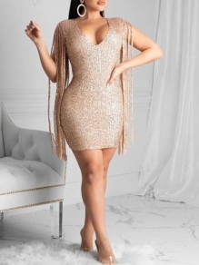 Golden Patchwork Sequin Tassel Sleeve V-neck Bodycon Party Mini Dress