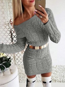 Grey Asymmetric Shoulder Long Sleeve Fashion Sweater Mini Dress
