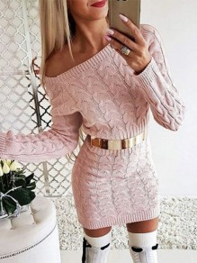 Pink Asymmetric Shoulder Long Sleeve Fashion Sweater Mini Dress