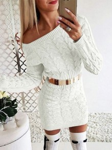 White Asymmetric Shoulder Long Sleeve Fashion Sweater Mini Dress