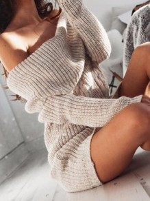 Beige Off Shoulder Long Sleeve Fashion Sweater Mini Dress