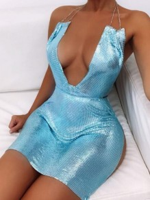 Light Blue Rhinestone Chain Side Slit Sparkly Glitter Banquet Party Valentine's Day Mini Dress