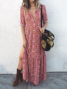 Pink Floral Print Draped Deep V-neck Elbow Sleeve Bohemian Maxi Dress