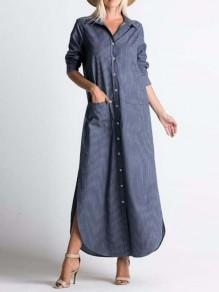 Navy Blue Gingham Buttons Pockets Band Collar Long Sleeve Fashion Maxi Dresses