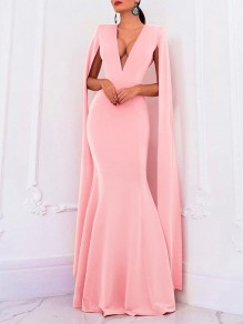 Pink Deep V-neck Long Sleeve Backless Mermaid Cape Ball Gown Prom Elegant Formal Maxi Dress
