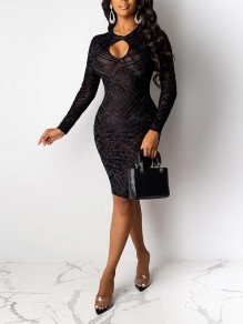 Black Patchwork Grenadine Sequin Sheer Bodycon Sparkly Glitter Birthday Party Midi Dress