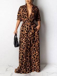 Brown Leopard Pattern Pockets Sashes Turndown Collar Half Sleeve Banquet Party Maxi Dress