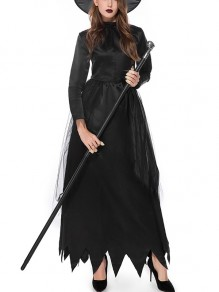 Maxi abito gotico grenadine halloween witch costume party con cappello