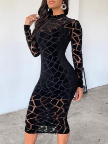 Black Patchwork Grenadine Geometric Sheer Bodycon Party Long Sleeve Maxi Dress