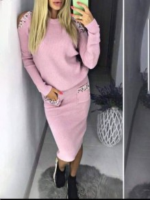 Pink Patchwork Beading Cut Out Going out Dress