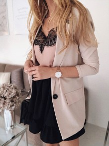 Beige Buttons Turndown Collar Long Sleeve Fashion Blouses